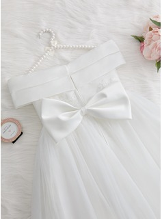 A-Line Floor-length Flower Girl Dress - Satin/Tulle/Lace Sleeveless Off-the-Shoulder With Beading/Flower(s)/Bow(s)