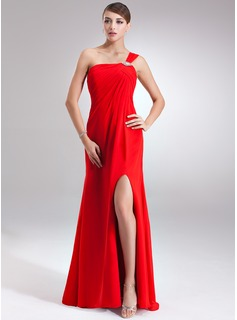Empire One-Shoulder Floor-Length Chiffon Holiday Dress With Ruffle Beading Split Front