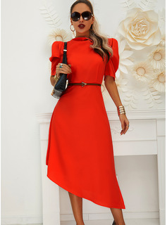 Solid A-line High Neck Short Sleeves Puff Sleeves Midi Elegant Skater Dresses