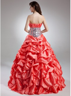 Ball-Gown Scalloped Neck Floor-Length Taffeta Quinceanera Dress With Ruffle Flower(s) Sequins
