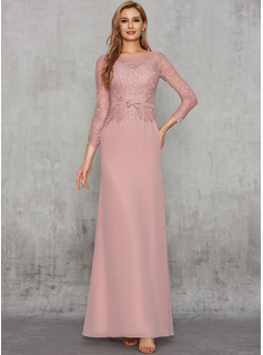 Sheath/Column Scoop Neck Floor-Length Chiffon Evening Dress With Lace Sash Sequins