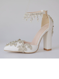 Women's Leatherette Chunky Heel Closed Toe Pumps With Tassel Crystal