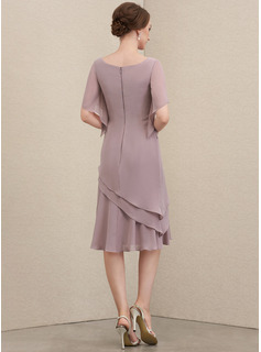 Scoop Neck Knee-Length Chiffon Mother of the Bride Dress With Cascading Ruffles