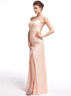 Sheath/Column Sweetheart Floor-Length Sequined Prom Dress With Split Front