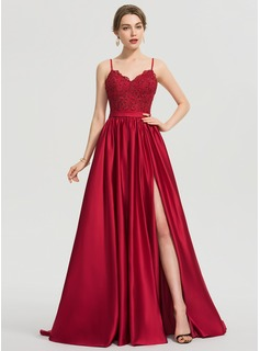 A-Line V-neck Sweep Train Satin Evening Dress With Beading Sequins Split Front