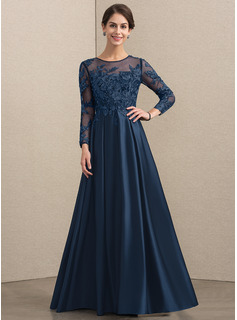 Scoop Neck Floor-Length Satin Lace Mother of the Bride Dress With Beading