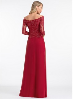 A-Line Off-the-Shoulder Floor-Length Chiffon Evening Dress With Sequins
