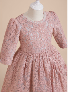 A-Line Knee-length Flower Girl Dress - Lace 1/2 Sleeves Scoop Neck With Beading/Bow(s)