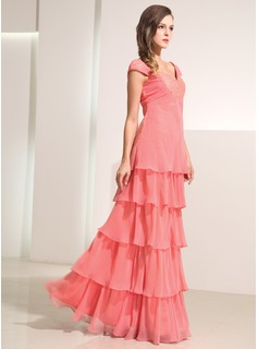 A-Line/Princess Sweetheart Floor-Length Chiffon Holiday Dress With Lace Cascading Ruffles