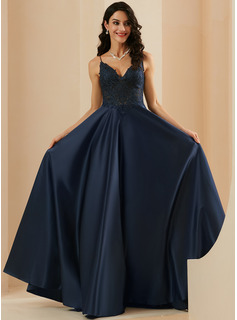 A-Line V-neck Floor-Length Satin Prom Dresses With Lace