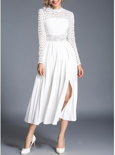 Lace With Lace/Stitching/Embroidery/Hollow/Crumple Midi Dress