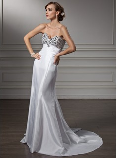 Empire Sweetheart Sweep Train Taffeta Prom Dresses With Beading