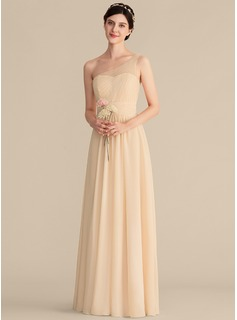 One-Shoulder Floor-Length Chiffon Bridesmaid Dress With Beading