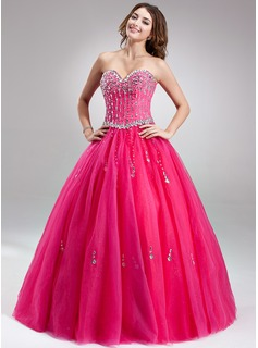 Ball-Gown/Princess Sweetheart Floor-Length Tulle Prom Dresses With Beading