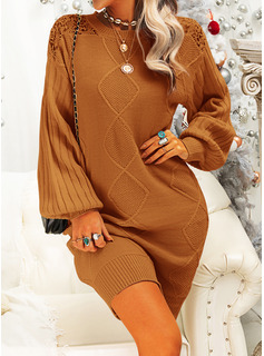 Lace Solid Round Neck Long Sleeves Casual Dresses