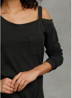 Long Sleeves Polyester One Shoulder Blouses