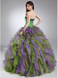 Ball-Gown Scalloped Neck Floor-Length Organza Quinceanera Dress With Beading Appliques Lace Flower(s) Cascading Ruffles
