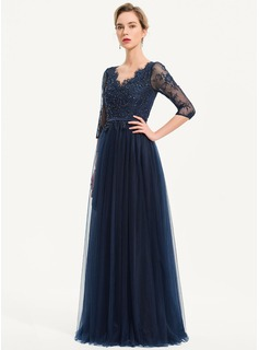 A-Line V-neck Floor-Length Tulle Evening Dress With Beading Sequins
