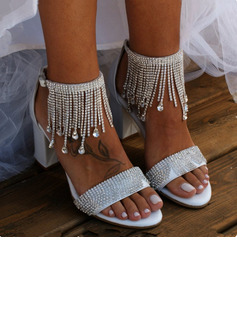 Women's Leatherette Chunky Heel Sandals Beach Wedding Shoes With Rhinestone