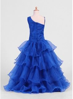 A-Line/Princess Floor-length Flower Girl Dress - Organza Sleeveless With Ruffles/Beading/Sequins