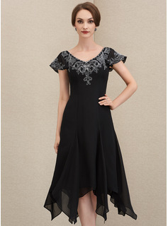 V-neck Tea-Length Chiffon Lace Mother of the Bride Dress With Sequins