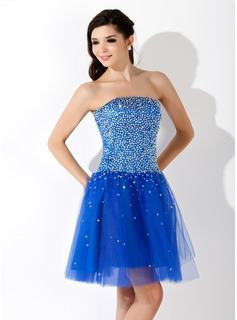 A-Line/Princess Strapless Short/Mini Tulle Homecoming Dress With Beading Sequins