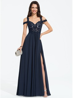 A-Line Sweetheart Off-the-Shoulder Floor-Length Chiffon Prom Dresses With Beading Split Front