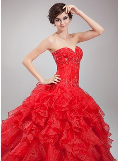 Ball-Gown Sweetheart Floor-Length Satin Organza Quinceanera Dress With Beading Cascading Ruffles
