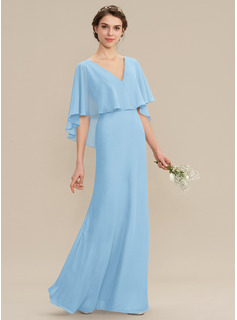 V-neck Floor-Length Chiffon Bridesmaid Dress