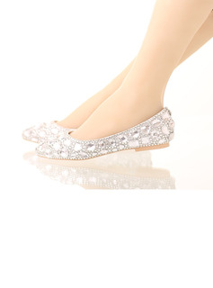 Women's Leatherette Flat Heel Closed Toe Flats With Rhinestone