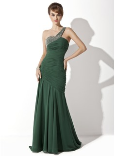Trumpet/Mermaid One-Shoulder Sweep Train Chiffon Mother of the Bride Dress With Ruffle Beading