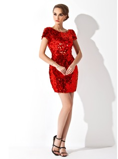 Sheath/Column Scoop Neck Short/Mini Sequined Cocktail Dress