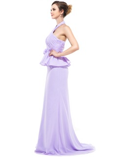 Trumpet/Mermaid Halter Sweep Train Chiffon Evening Dress With Ruffle