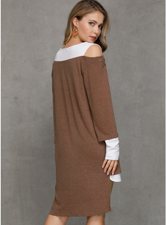 Polyester With Color-block Asymmetrical Dress