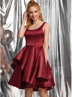 A-Line Square Neckline Knee-Length Satin Homecoming Dress With Bow(s) Cascading Ruffles
