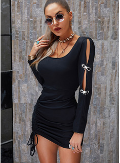 Solid Bodycon Cold Shoulder Long Sleeves Split Sleeve Midi Little Black Party Dresses