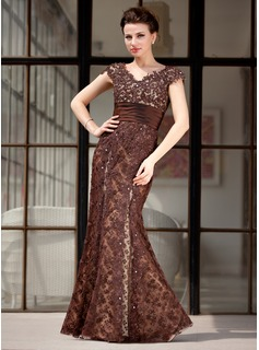 Trumpet/Mermaid V-neck Floor-Length Lace Mother of the Bride Dress With Beading