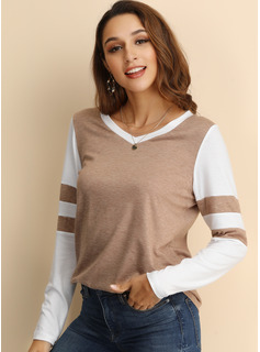 Manches longues Polyester Col rond Tricot Blouses