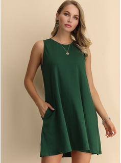 Cotton With Resin solid color Above Knee Dress
