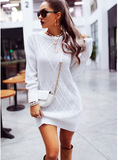 Solid Round Neck Long Sleeves Casual Dresses