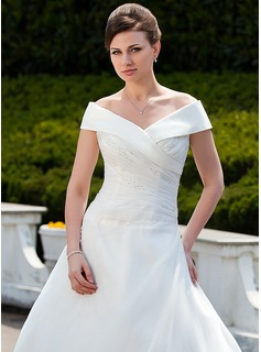Ball-Gown Off-the-Shoulder Court Train Organza Wedding Dress With Ruffle Beading