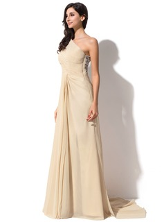 Sheath/Column One-Shoulder Watteau Train Chiffon Evening Dress With Ruffle Sequins Split Front