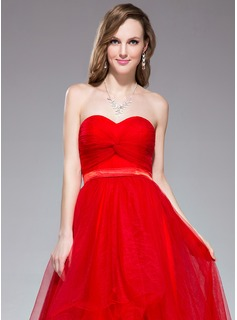 A-Line/Princess Sweetheart Asymmetrical Tulle Holiday Dress With Ruffle