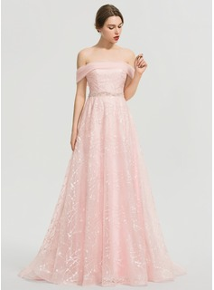 A-Line Off-the-Shoulder Sweep Train Tulle Prom Dresses With Beading Sequins