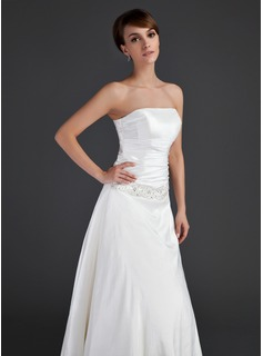 A-Line/Princess Strapless Floor-Length Taffeta Wedding Dress With Ruffle Beading