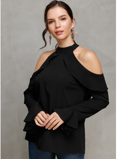 Long Sleeves Flare Sleeve Polyester Cold Shoulder Knit Blouses