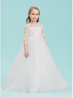 Ball Gown Floor-length Flower Girl Dress - Tulle 3/4 Sleeves Scoop Neck With Appliques