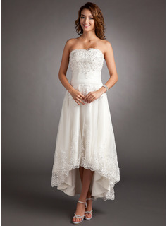 A-Line/Princess Sweetheart Asymmetrical Tulle Wedding Dress With Lace Beading