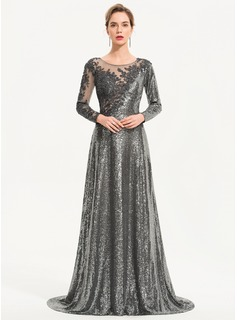 A-Line Scoop Neck Sweep Train Sequined Evening Dress