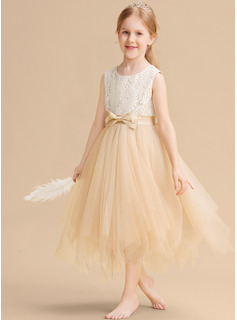 A-Line Tea-length Flower Girl Dress - Sleeveless Scalloped Neck With Lace/Bow(s)